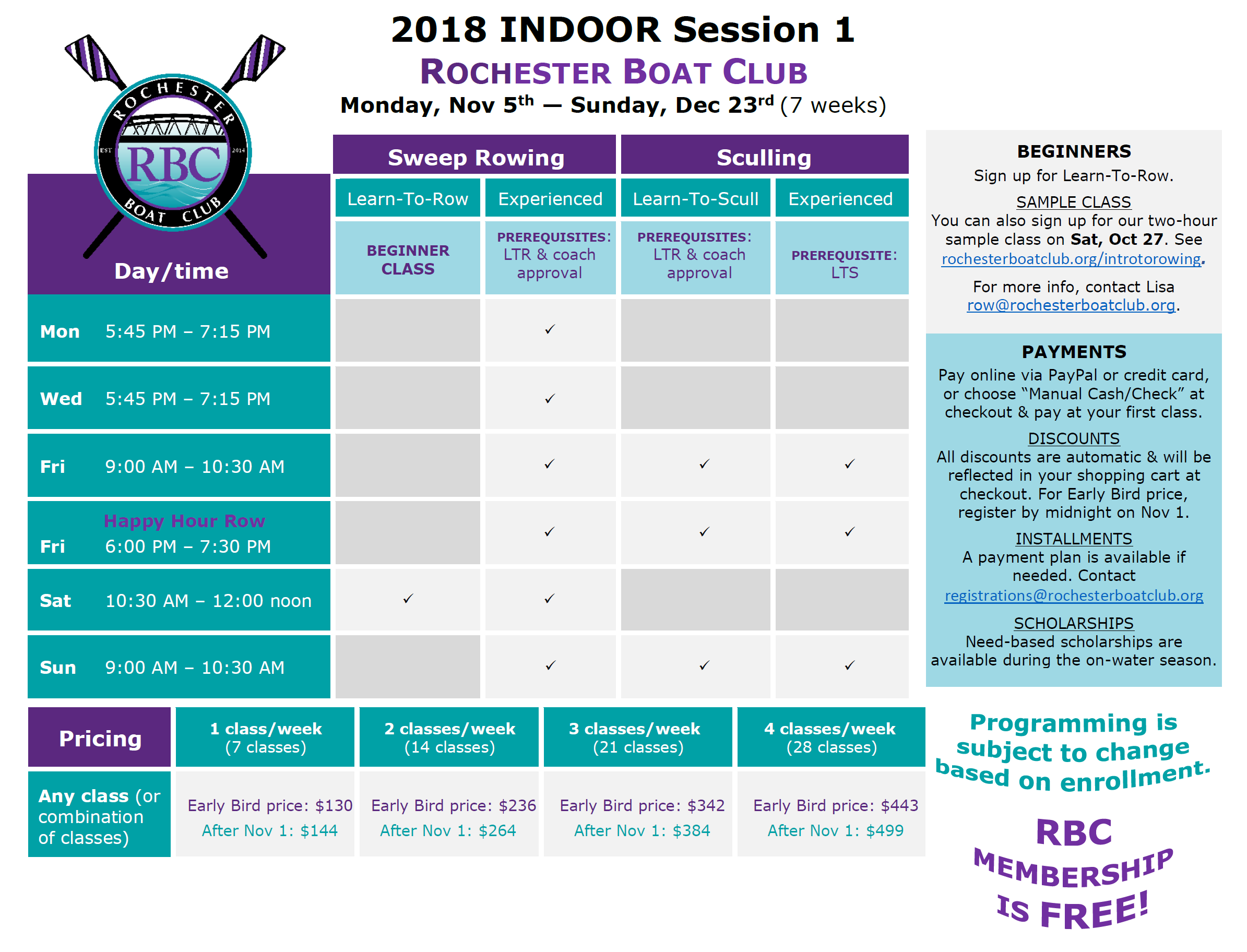 Indoor Session 1 Classes/Programming