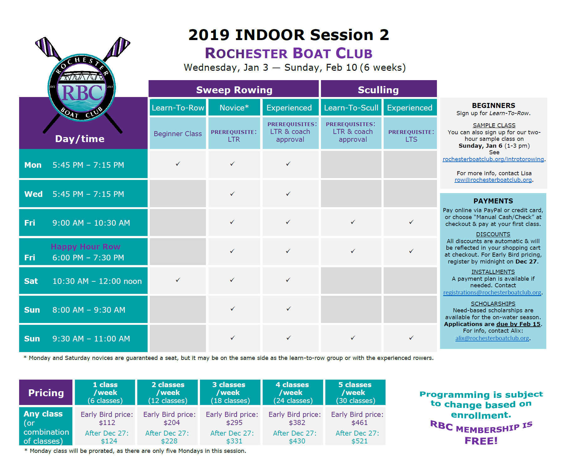 Indoor Session 2 Classes/Programming