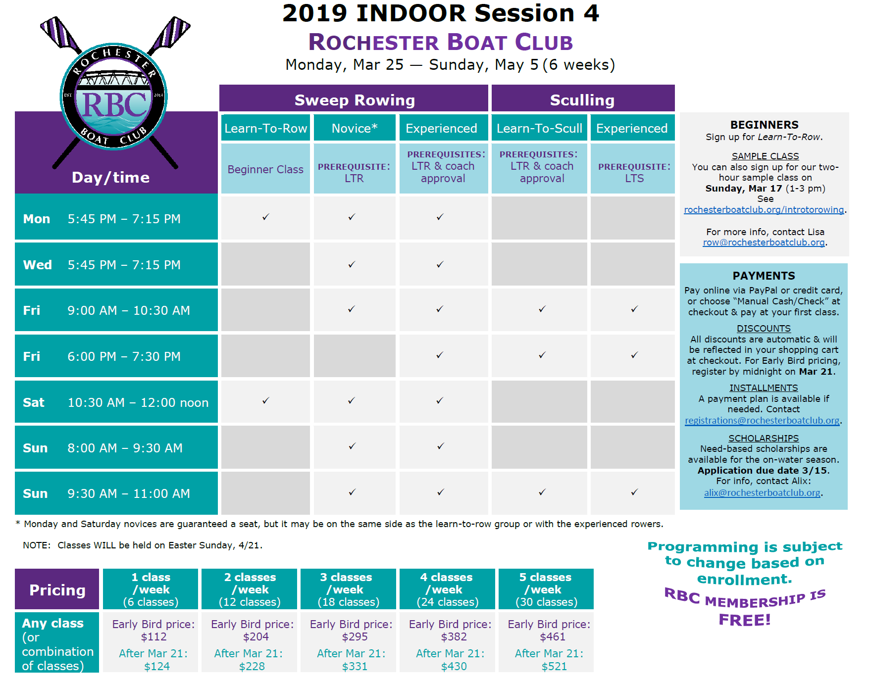 Indoor Session 4 Classes/Programming