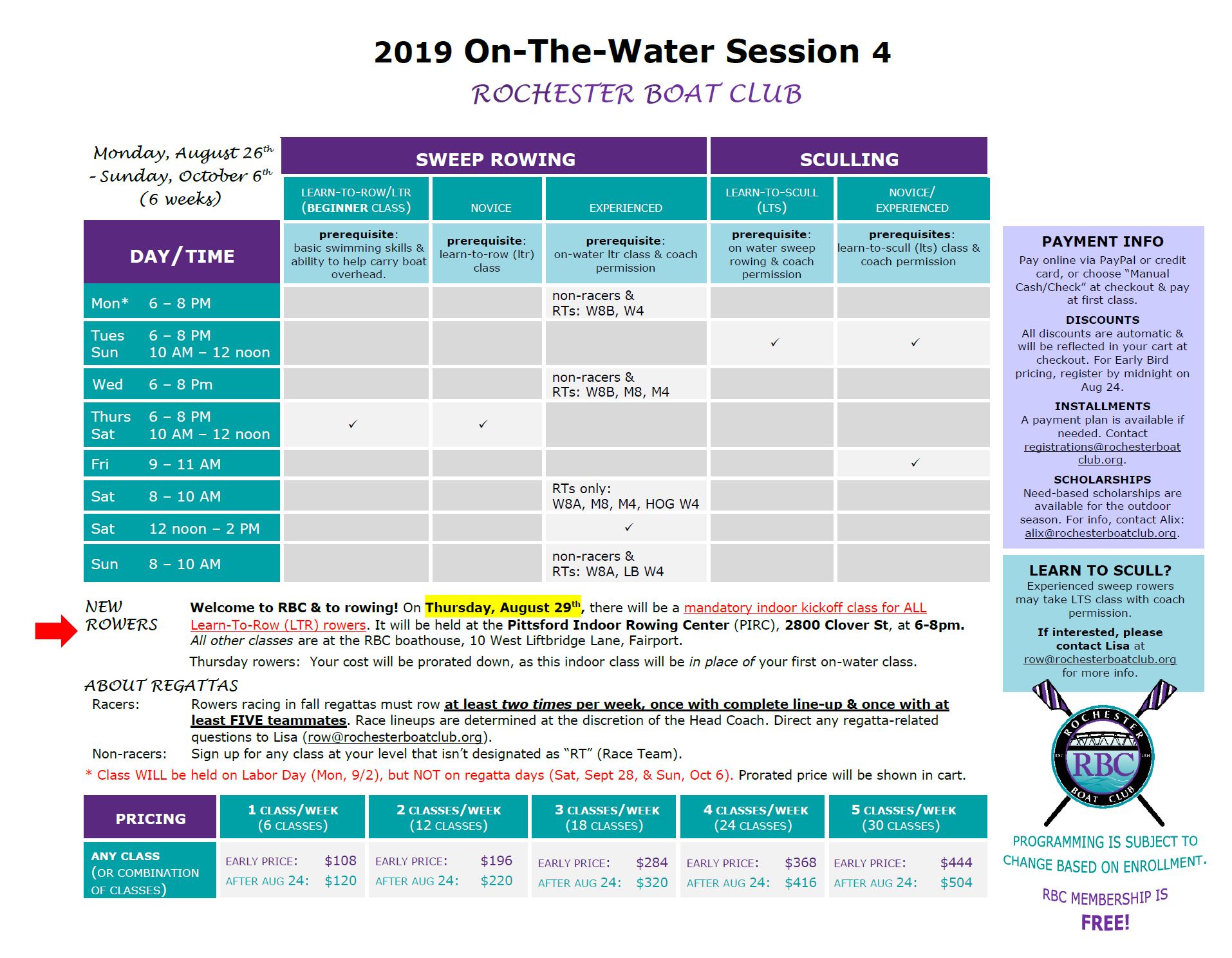 On-the-Water Session 4 Classes/Programming